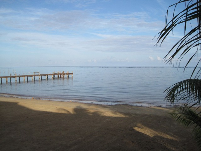 Beach at Blue Bahia Resort, Roatan, HN.   This could be your office as a PADI Professional