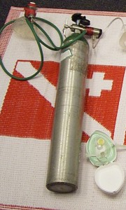 Emergency oxygen equipment including oxygen cylinder, regulator, demand valve/manually triggered ventillator and pocket mask