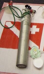 Emergency oxygen equipment including oxygen cylinder, regulator, demand valve/manually triggered ventillator and pocket mask