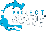Project AWARE logo showing a diver and a shark