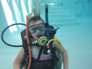 PADI Junior Open Water diver during pool training