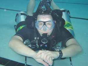 Jon Rusho in sidemount scuba gear at Dive Utah