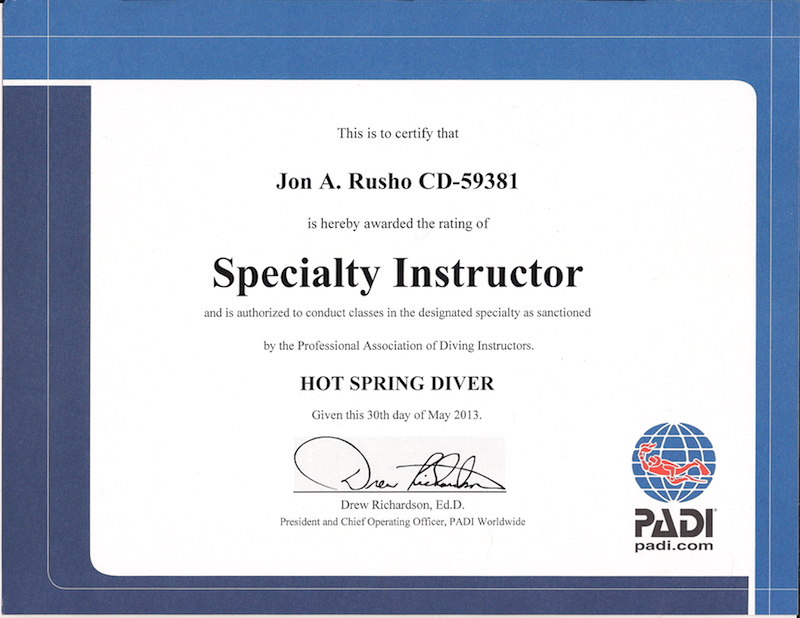 Courses Archives - Jon Rusho, PADI Course Director