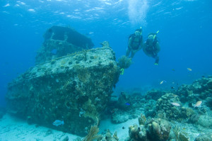 Wreck diving with two scuba divers