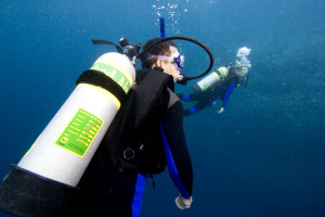 Diver with an Enriched Air Nitrox tank